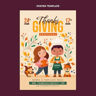Płaska konstrukcja plakatu dziękczynienia
