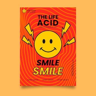 Płaska konstrukcja plakatu emoji kwasu