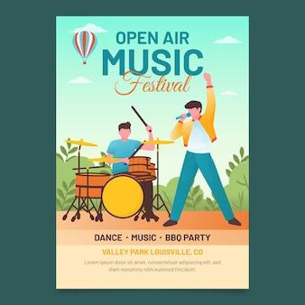 Płaska konstrukcja plakatu festiwalu muzyki na świeżym powietrzu