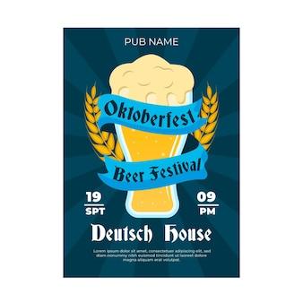 Płaska konstrukcja plakatu festiwalu piwa oktoberfest