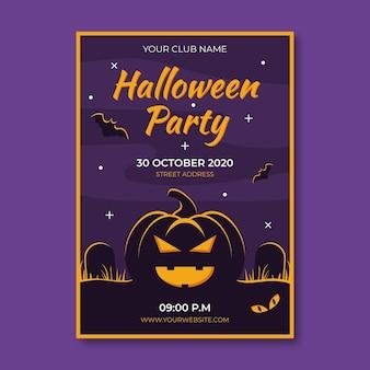 Płaska konstrukcja plakatu halloween party z ilustrowaną dynią