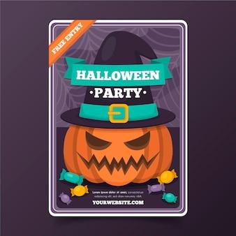 Płaska konstrukcja plakatu halloween z dynią