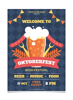 Płaska konstrukcja plakatu oktoberfest szablon