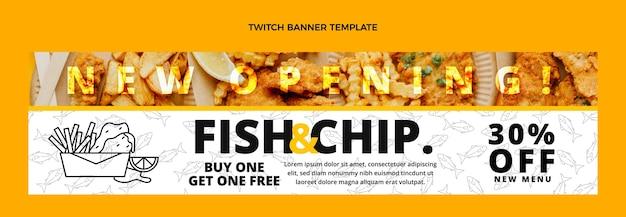 Płaska konstrukcja płaska ryba z frytkami jedzenie drgający baner