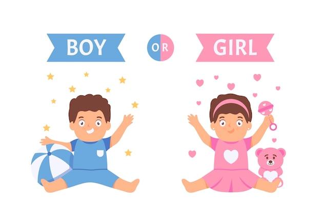 Płaska konstrukcja płci ujawnia ilustrację koncepcji