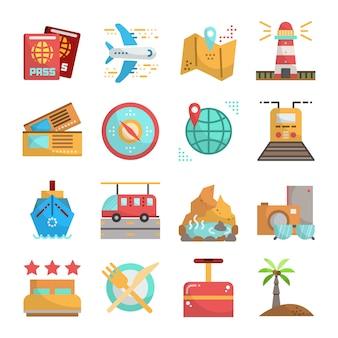 Płaska konstrukcja podróży i wakacji