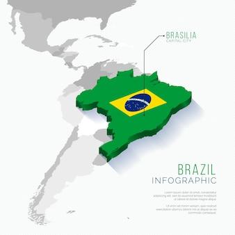 Płaska konstrukcja podświetlona plansza mapa kraju brazylia