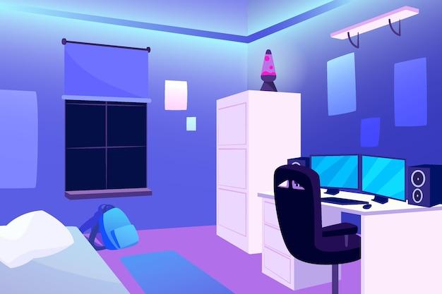 Płaska konstrukcja pokoju dla graczy