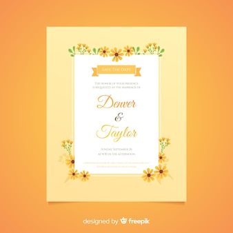 Płaska konstrukcja pomarańczowe wesele kwiatowy szablon zaproszenia