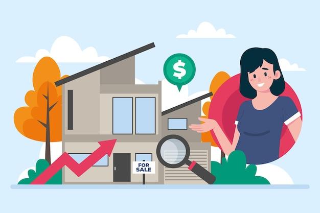 Płaska konstrukcja pomocy w handlu nieruchomościami illustrationwith kobieta