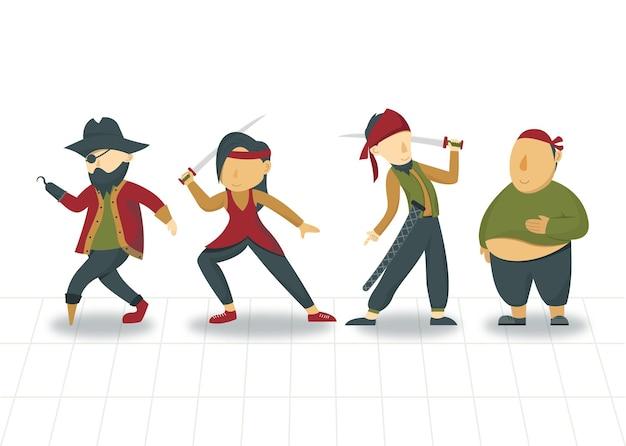 Płaska konstrukcja postaci piratów ilustracja gry