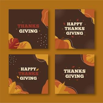 Płaska konstrukcja postów na instagramie z okazji święta dziękczynienia