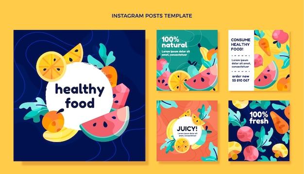 Płaska konstrukcja postów na instagramie zdrowej żywności