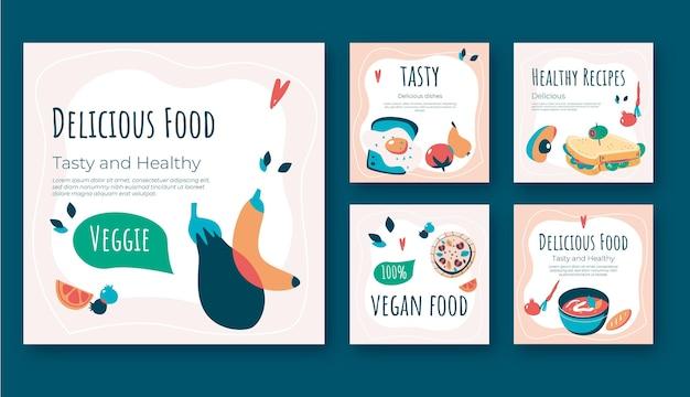 Płaska konstrukcja postów na temat wegańskie jedzenie na instagramie