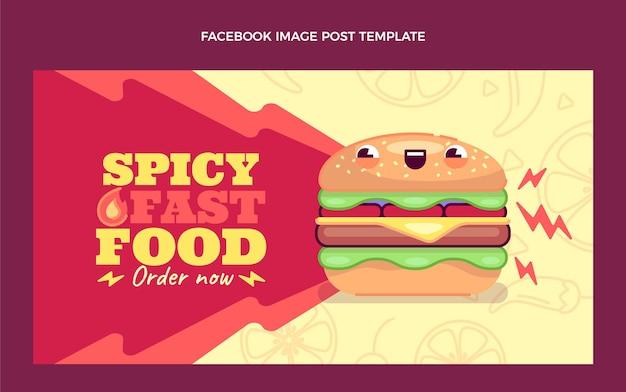 Płaska konstrukcja postu na facebooku z jedzeniem