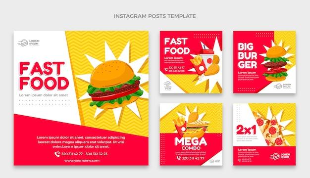 Płaska konstrukcja postu na instagramie fast food