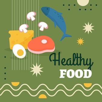 Płaska konstrukcja postu na instagramie zdrowej żywności