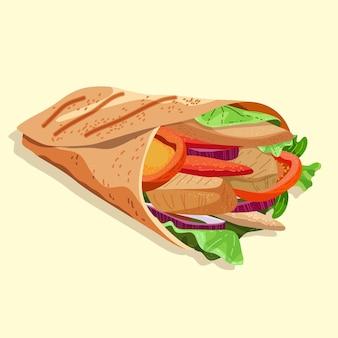 Płaska konstrukcja pożywna ilustracja shawarma