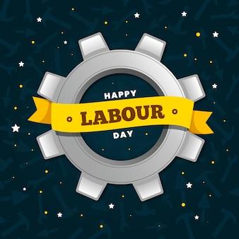 Płaska konstrukcja pracowników międzynarodowy dzień i wstążki