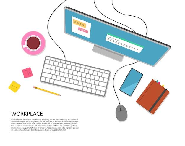 Płaska konstrukcja. pracuj na komputerze. widok z góry miejsca pracy.