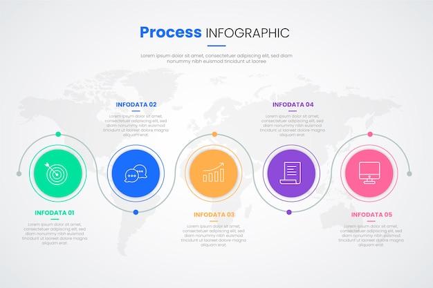 Płaska konstrukcja procesu infographic szablon