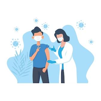 Płaska konstrukcja profesjonalna pielęgniarka lub lekarz dający zastrzyk przeciwwirusowy pacjentowi nosić maseczkę medyczną w szpitalu. szczepienia, immunizacja, koncepcja zapobiegania chorobom od wirusa covid-19