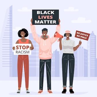 Płaska konstrukcja, protestujący w sprawie black lives matter trzymają plakaty. wektor