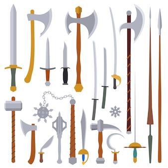 Płaska konstrukcja przedstawia średniowieczny zestaw broni zimnej
