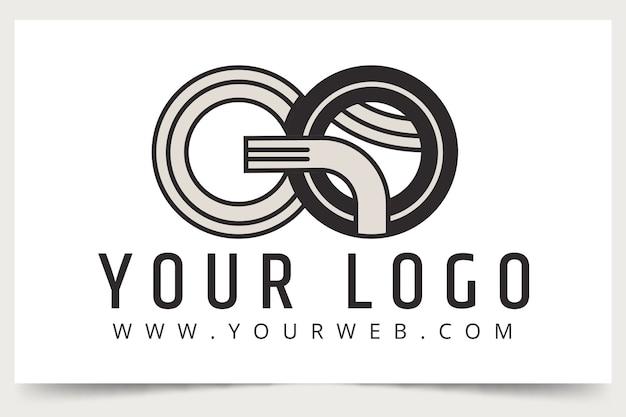 Płaska konstrukcja przejdź szablon logo