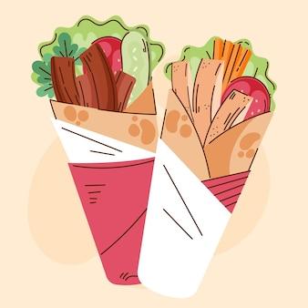 Płaska konstrukcja pyszna ilustracja shawarma