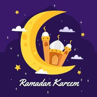 Płaska konstrukcja ramadan kareem napis