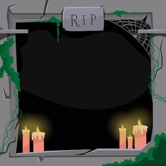 Płaska konstrukcja ramki halloween ze świecami