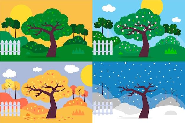 Płaska konstrukcja ręcznie rysowanej kolekcji sezonów