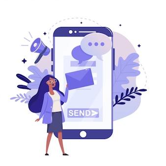 Płaska konstrukcja reklamy mobilnej i marketingu cyfrowego. ilustracja kolor badań marketingowych. kobieta z koncepcją ilustracji telefon komórkowy, poczta i bullhorn, na białym tle.