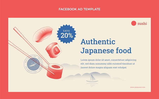 Płaska konstrukcja reklamy na facebooku