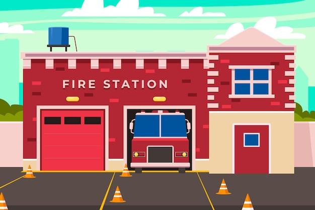 Płaska konstrukcja remizy strażackiej