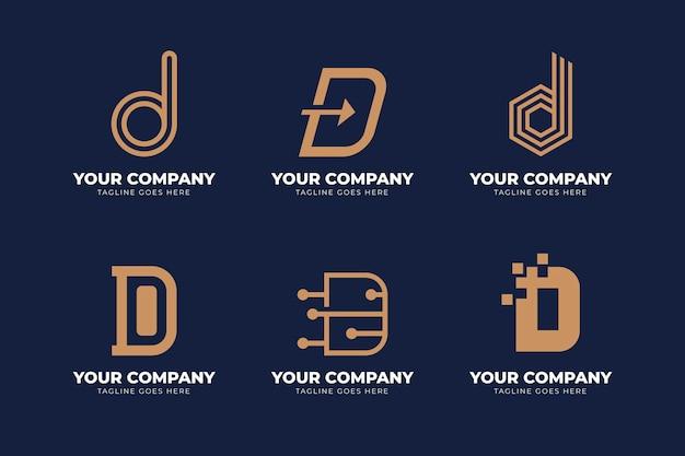 Płaska konstrukcja różnych d logo zestaw