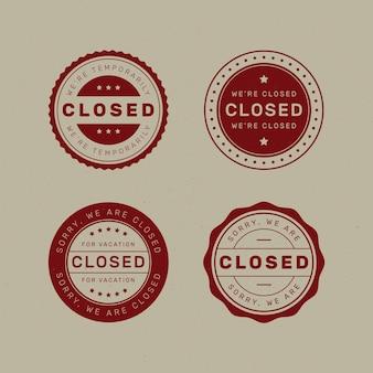 Płaska konstrukcja różnych zamkniętych znaczków pieczęciowych