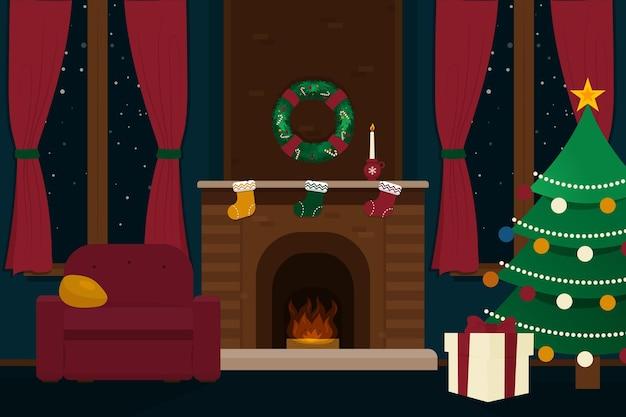 Płaska konstrukcja sceny świątecznego kominka