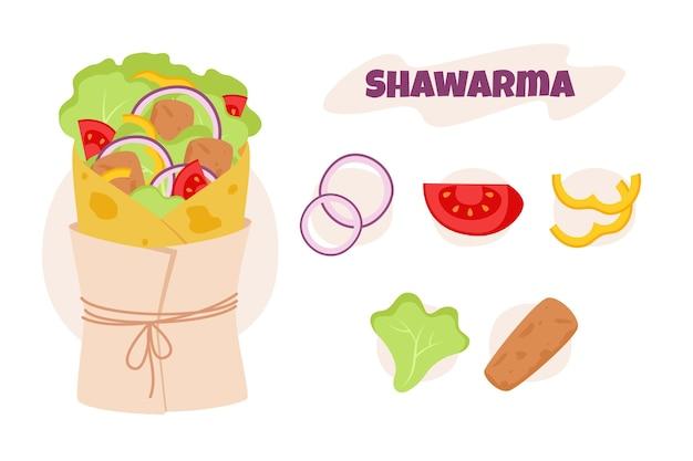 Płaska konstrukcja shawarma ilustracja