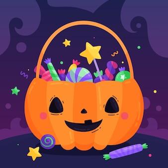 Płaska konstrukcja słodka torba z dyni na halloween