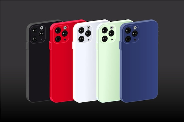 Płaska konstrukcja smartfona w różnych kolorach