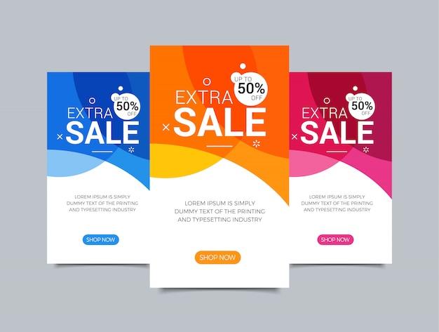 Płaska konstrukcja sprzedaż strony internetowej banery na telefon komórkowy. wektorowe ilustracje dla ogólnospołecznego medialnego sztandaru szablonu