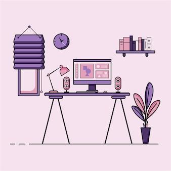 Płaska konstrukcja stołu roboczego koncepcja wnętrza biurka roboczego z meblami pokój do pracy z komputerem stół biurkowy krzesło książka i sprzęt stacjonarny praca z domu kreskówka
