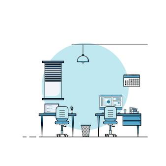 Płaska konstrukcja stołu roboczego, koncepcja wnętrza biurka z meblami. pomieszczenie do pracy z komputerem, pulpitem, stołem, krzesłem, książką i sprzętem stacjonarnym. praca z domu ilustracja kreskówka.