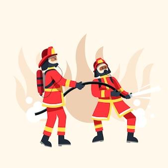 Płaska konstrukcja strażaków gaszących pożar