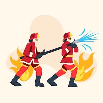 Płaska konstrukcja strażaków gaszenia pożaru na ilustracji