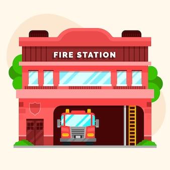 Płaska konstrukcja straży pożarnej zilustrowana