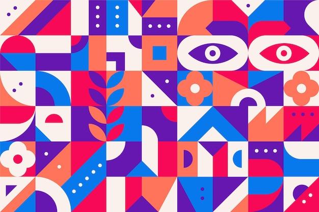 Płaska konstrukcja streszczenie kolorowe kształty geometryczne