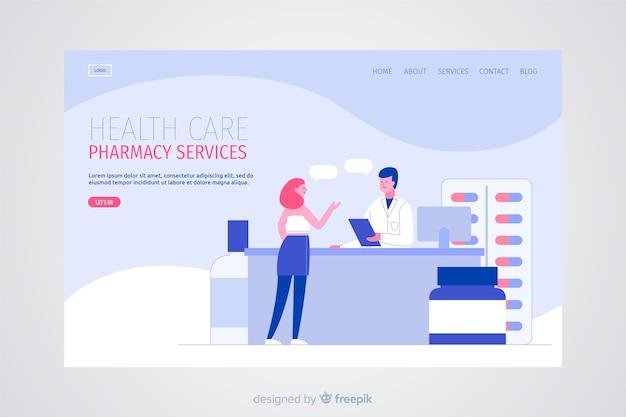 Płaska konstrukcja strony docelowej apteki